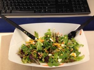 spinach, mixed greens, shredded carrots, hardboiled egg, broccoli, shredded cheddar cheese and honey mustard dressing